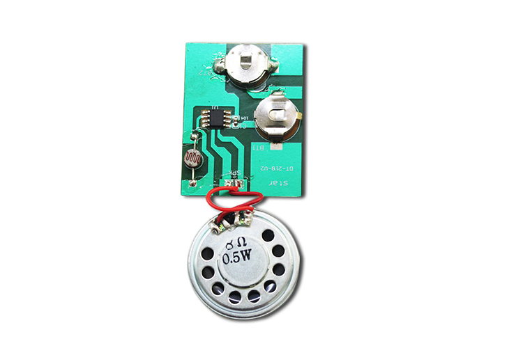 Light sensor activated sound module for gift box