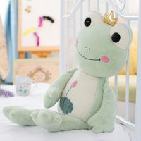 Three Bear ODM Stuffed Green Crown Frog Shaped Toys for Child