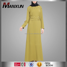 Best Selling Chiffon Muslim Abaya With Beading Exquisite Design Long sleeves Dress Middle East Dress Dubai Clothing For Woman