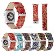 Genuine Leather For iwatch strap, Silk printing Leather Band For Apple Watch, Leather Wrist Band For Apple Watch