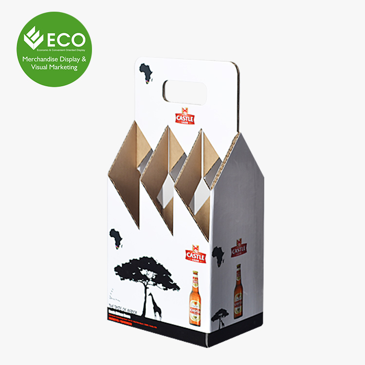 Custom Printed 4 Pack Cardboard Beer Bottle Packaging Box Carrier