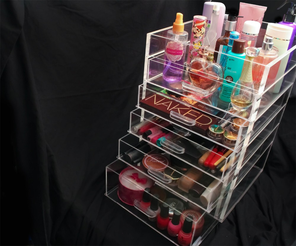 5 Drawer Acrylic Clear Makeup Organizer,-style Storage Box Cube Case w/ Flip Top Quality Design Cute Beauty Bath