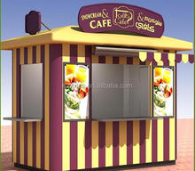 Optional security outdoor fast food kiosk container shop