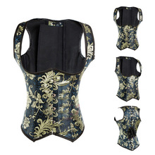 Gothic Steampunk Brocade Hook Close with wholesale Cheap Waist Training corset