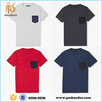 2016 Guangzhou shandao summer casual plain dyed claasic pocket short sleeve crew neck cotton city t shirts
