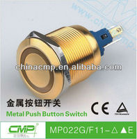 CMP 22mm waterproof gold plating metal latching or momentary led illuminated push button ip67