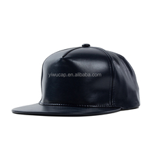 solid color flexfit faux leather snapback cap plain custom black leather snapback cap