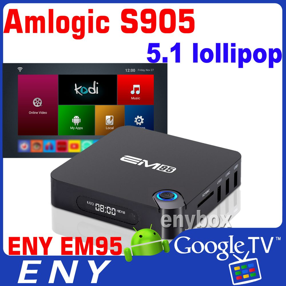 Aml S905 4K Quad Core Enybox EM95 Google Android 5.1 Internet TV Box 1GB/8GB EMMC Kodi Preinstall Best Android TV Box