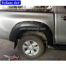 Modified designs Wrinkled black Fender flare For HIlux Revo 2016 ABS plastic Cars eyebrows Molding accessories