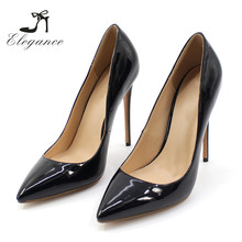 2018 Latest Big Size Ladies Glossy Patent Black Faux Leather Sexy Stiletto High Heel Pumps Women Shoes