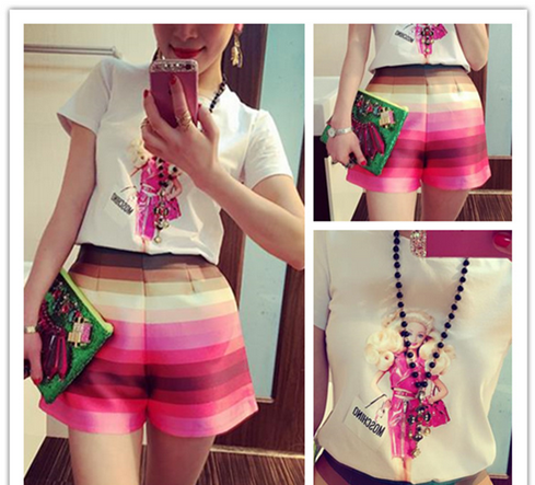 W50419Q 2015 summer new Korean printing Slim round neck T-shirt + colored shorts women's suits wholesale