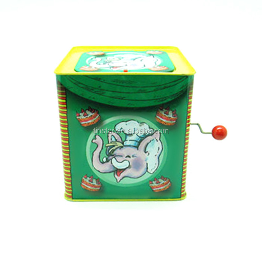 High quality interesting musical gift tin box with a doll