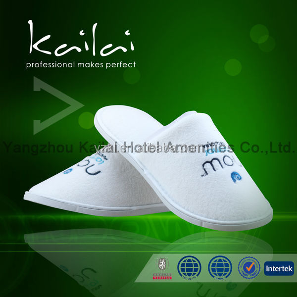 White color disposable hotel spa slippers with customized logo/hotel man shoes