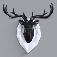 Asia Vintage Wooden Artificial Deer Head Wall Hanging Decoration With Blue Color For 3D Wall Stickers Home Decor