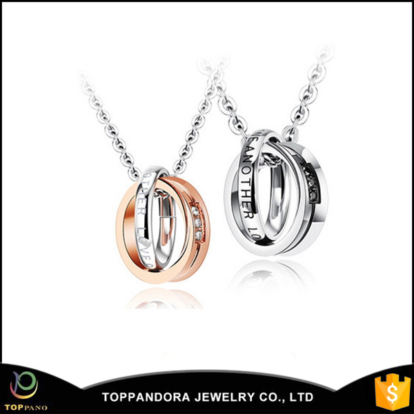 Custom Design Fashion Girls rose gold plating couple ring pendant necklace with chain rose gold pendent