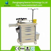 BT-EY003 China manufacturer CE ISO 5 drawers medical buy hospital crash cart& emergency trolley equipment
