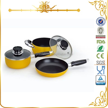 MSF-6333 yellow color heat resistant painting excellent houseware 2014 kitchen accessories aluminum non-stick cookware set