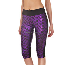 Cheap Price Yoga Leggings Sublimation Print Purple Mermaid Capri S130-283