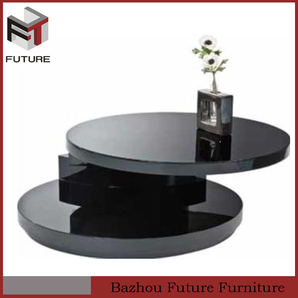 modern wooden black high gloss center coffee table
