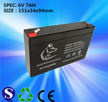 Deep cycle 6V 7AH rechargeable lead acid battery for electric car