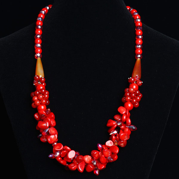 Red coral stone Neclace Gemstone Beads Necklace