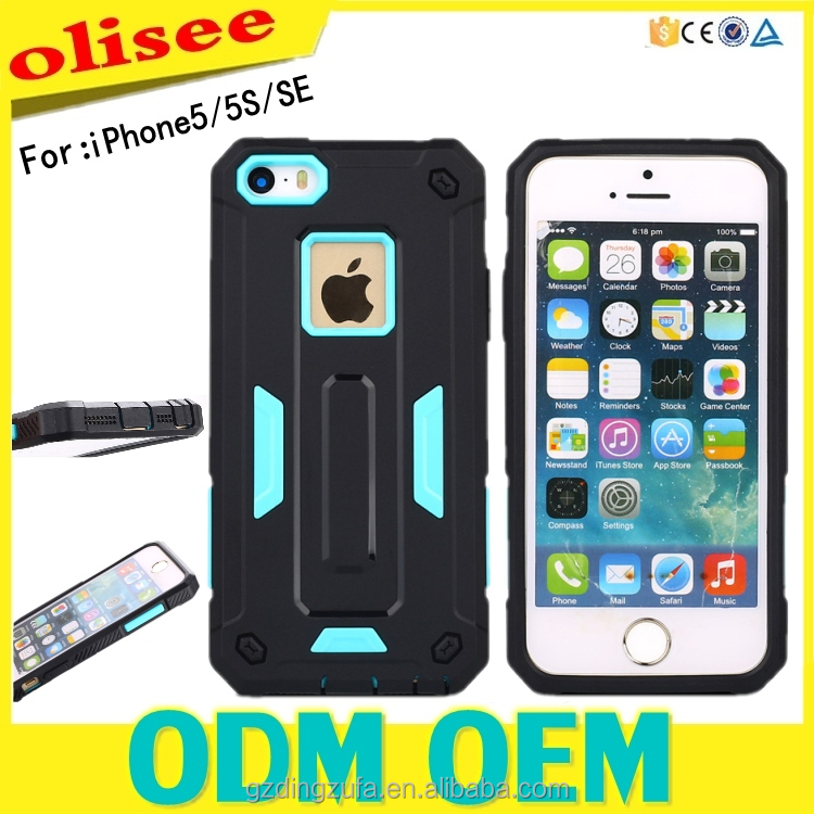 Free Sample 2 in 1 Shockproof TPU PC Protective Phone Case For iphone 5