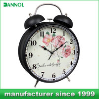 big table clock antique two bell ring alarm clock
