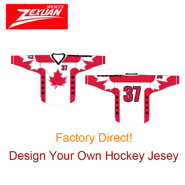 High quality flag canada sublimated ice hockey jerseys