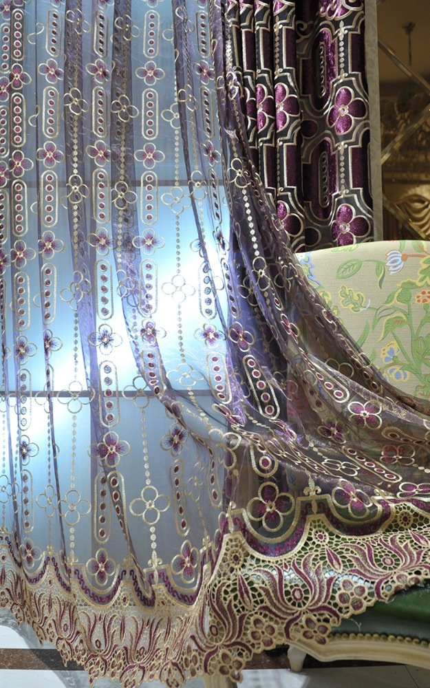 High class purple tulle organza curtain fabric with fancy embroidery for villa window SR12905