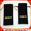 Soft Black Velvet Jewellery Pouch With Gold Logo