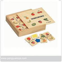 Wooden Dominoes Set with Fruit Image