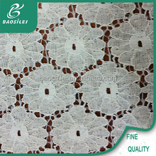 2016 Factory direct nylon and cotton lace fabric white velvet lace fabric for chair cover wedding
