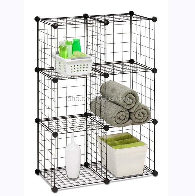 Versatile Grid Wire Modular Shelving Wire Storage Cube FH-W0043 ...