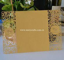 Laser cut customized wedding invitation card lucky wedding cards wholesale craft supplies