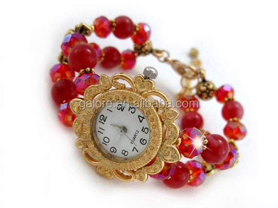 red stones fancy ladies watches with changeable strap