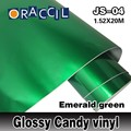 Car Styling 1.52x20M/Roll with air bubble Green Candy Glossy Vinyl Car Wrapping