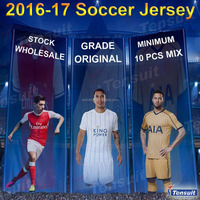 Top quality made in Thailand cheap 2015 2016 blue soccer jersey thai ori football jersey