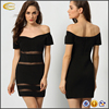 Ecoach fashion women's Black Short Sleeve Off The Shoulder sexy party wear dress patterns one pieces party wear dress