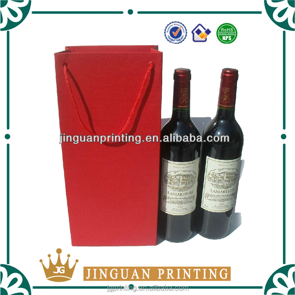 Custom printed high quality paper shopping gift luxury wine packaging bag
