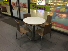 Fast food restaurant furniture wooden round dining table and chair in Foshan(FOH-ZGF1)