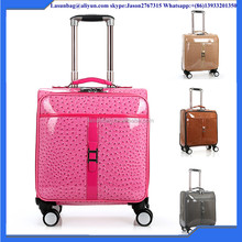 Fashionable colourful patent leather luggage 16'' trolley bag cheap new design boarding travel luggage bag