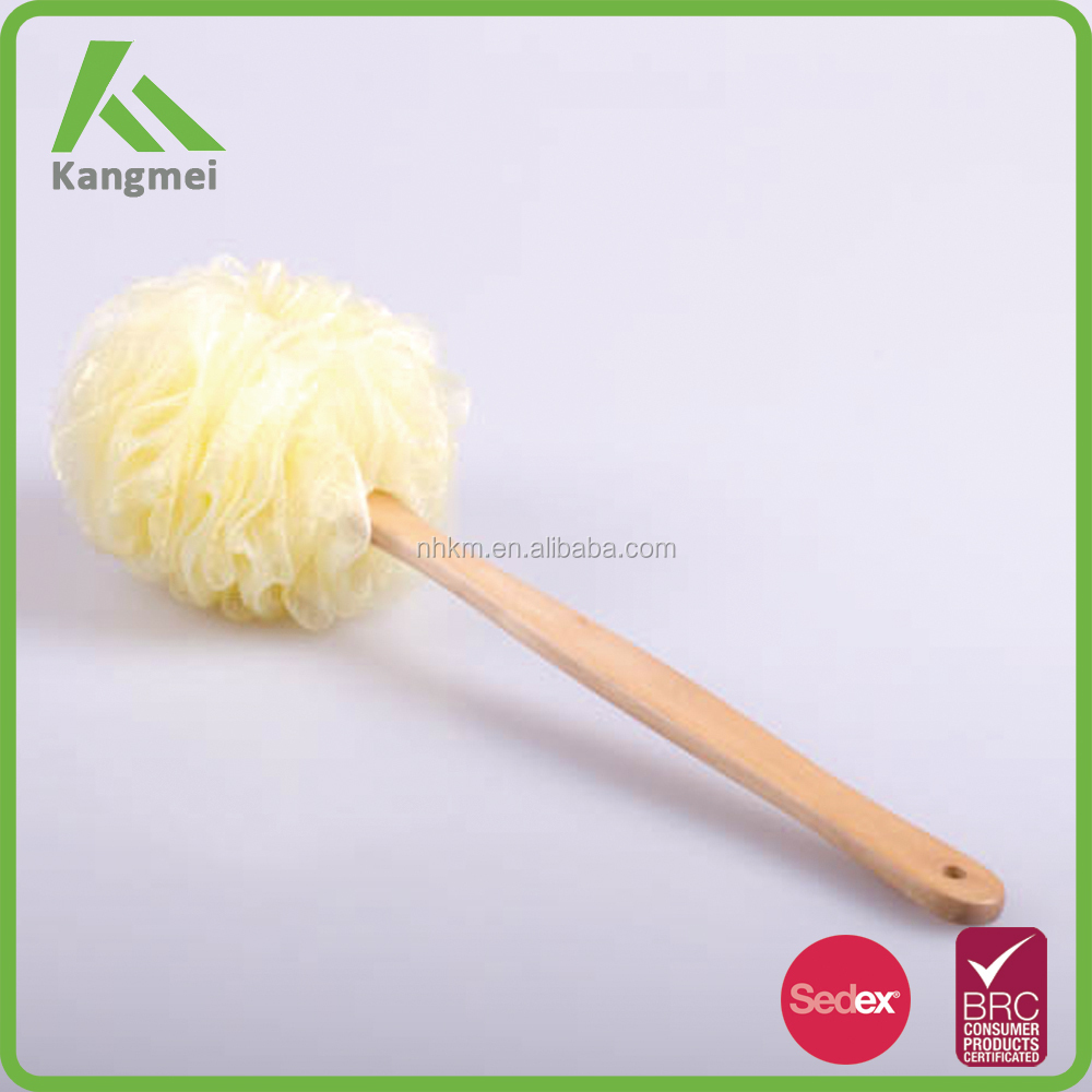 wooden Long Handle Bath Body Back Brush Shower Nylon Mesh Scrubber Sponge
