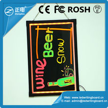 Best selling 90 flashing aliminium frame with remote control led writing menu boards restaurant menu board led sign led message