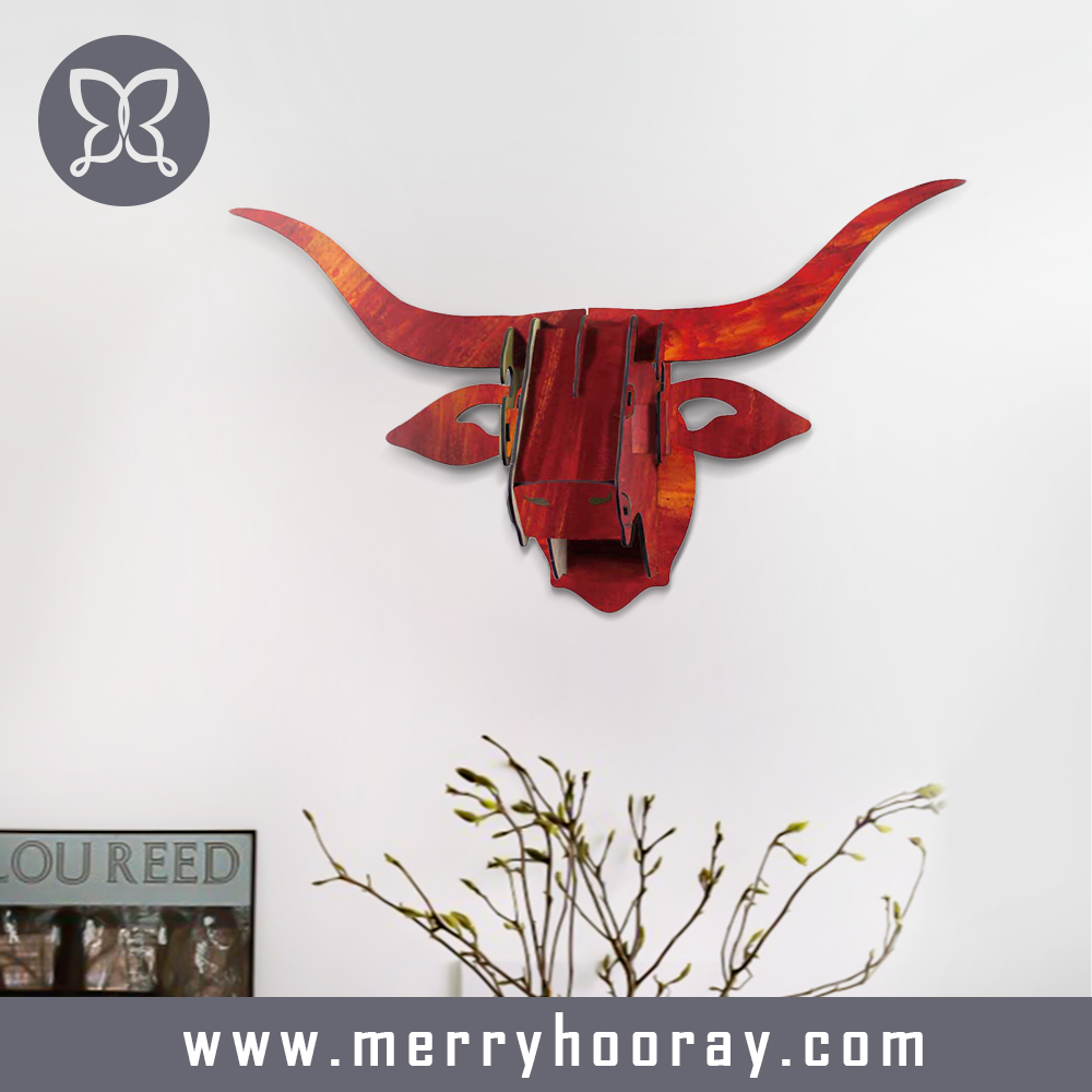 Wood bull head art home decor for wall decor hanging