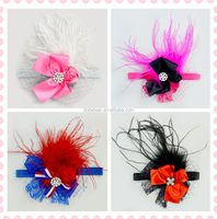 2015 wholesale ribbon funny fashion hair beaded party baby elastic flower boutique feather headband feather headbands for girls