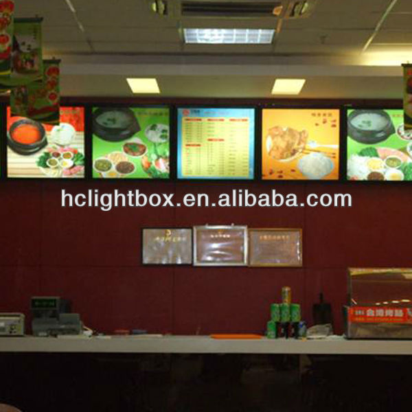 Wall Mounted menu Board Snap Frame Light Box and celling hanging 3d poster frame led light box
