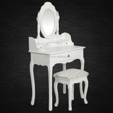 Wholesale White Finish MDF Dressing Table and Dresser With Mirror Europe Ebay Amazon Bing Sullpier&Factory&Seller&Distributor