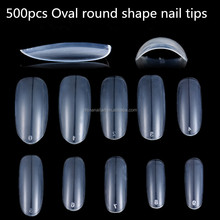 500PCS/BAG Long Oval Round Shape Clear False Nail Art Tips Artificial French Nail Tips