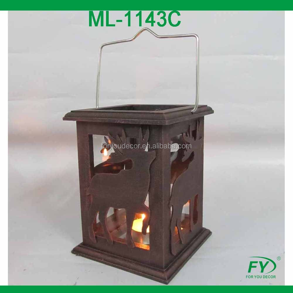 ML - 1143C Christmas moroccan wooden mini lantern with deer pattern.