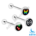 Stainless Steel Tongue Bars Rings Body Piercing Jewellery with Logo
